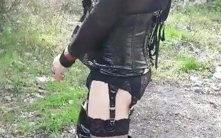 Sophie, french sissy in bitch outfit filmed by a friend