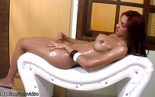 FULL movie of Redhaired TS oiling up her puffy nipples