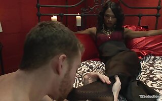 Transsexual Seductress Chanel Couture her MASSIVE COCK and Her Slave