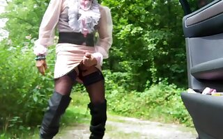 Incredible amateur shemale movie with Solo, Outdoor scenes