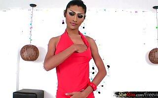 Feminine Thai femboy in stockings strokes her dick