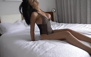 Sexy shemale jerking in bed