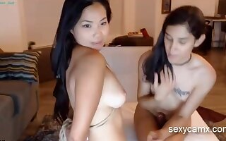 Horny big cock tranny shagging curvy bounded asian chick live at sexycamx